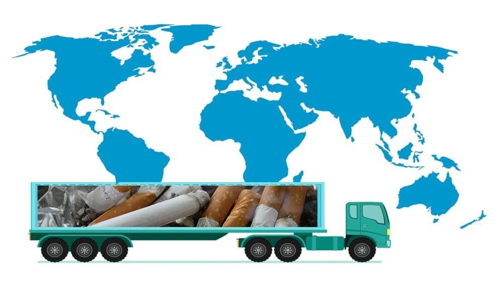 Mapa, produkcja tytoniu na świecie